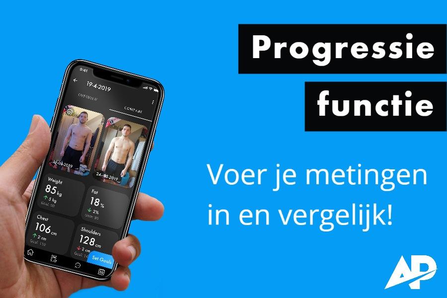 Je progessie bijhouden kan met een fitness app.