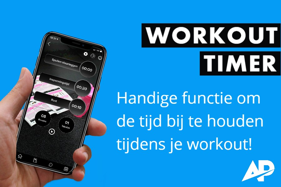 Handige workout timer in de ApolloProtocol app.