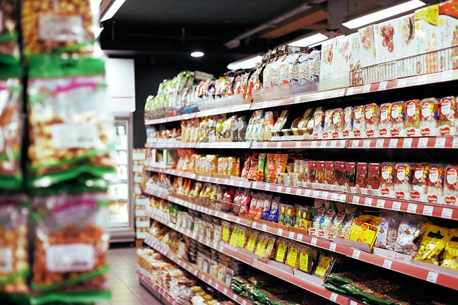 Supermarkt vol met koolhydraat-rijke producten